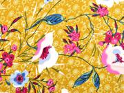 Blusenstoff Satin Blumen, pink ocker