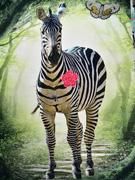 French Terry Sweat 2 in 1 Panel Zebra Digitaldruck