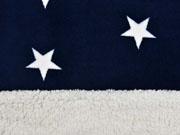 Doubleface Jaquardfleece Sterne Teddyfleece, dunkelblau