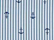 Baumwolle Streifen Anker, rauchblau