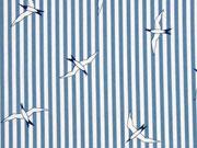 RESTSTÜCK 77 cm Baumwollstoff Streifen Möwen, rauchblau