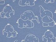 RESTSTÜCK 75 CM Jersey Elefanten, blau