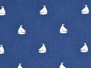 Baumwollstoff Segelboote, dunkelblau