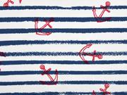 RESTSTÜCK 43 cm French Terry Sweat Streifen roter Anker weiß dunkelblau