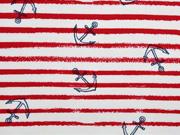 French Terry Sweat Streifen dunkelblauer Anker, angeraut,  weiß rot