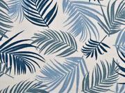 RESTSTÜCK 72 cm Canvas Blätter, rauchblau creme