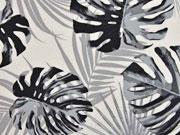 Canvas Palmblätter, grau creme