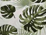 Canvas Palmblätter, khaki creme