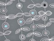 Baumwollstoff Blumen Stengel, weiß dunkelgrau