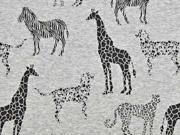 RESTSTÜCK 32 cm Sweat Alpenfleece Safari Tiere, schwarz grau