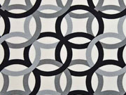 Canvas Ringe Kringel Kreise, grau schwarz creme