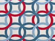 Canvas Ringe Kringel Kreise, rot rauchblau creme