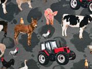 Jersey Digitaldruck Bauernhof Tiere, dunkelgrau