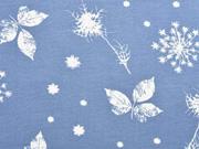 RESTSTÜCK 61 cm Sweat Pusteblumen und Blätter, rauchblau