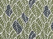 Jersey Blättermuster, khaki