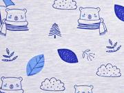Jersey Bären und Blätter, hellblau meliert
