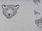 Jacquardjersey Panel Leopard, grau