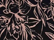 Viskosejersey Blätter, altrosa schwarz