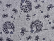 RESTSTÜCK 117 cm Softshell Stoff Pusteblumen, grau melange