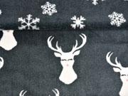 RESTSTÜCK 79 cm Wellness Fleece Doubleface Hirsche, dunkelgrau