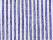 leichter elastischer Crinkle-Blusenstoff Streifen, jeansblau weiß