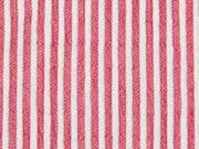 leichter elastischer Crinkle-Blusenstoff Streifen, rot weiß