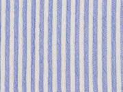 leichter elastischer Crinkle-Blusenstoff Streifen, hellblau weiß