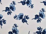 Crepe Blusenstoff Bubble Satin Blumen, dunkelblau weiß