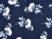 Crepe Blusenstoff Bubble Satin Blumen, weiß dunkelblau
