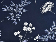 RESTSTÜCK 91 cm Viskose Blumen Blätter, dunkelblau