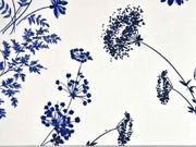 RESTSTÜCK 54 cm Viskose Blumen Blätter, dunkelblau auf weiß