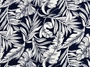 Viskose große Blätter, weiß dunkelblau