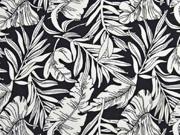 Viskose große Blätter, weiß schwarz