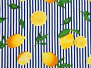 Viskose Streifen Zitronen, weiß blau