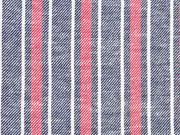 RESTSTÜCK 120 cm Baumwolle Leinen Streifen, rot weiß dunkelblau