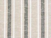 Baumwolle Leinen Streifen, schwarz weiß beige