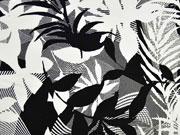 Baumwollsatin große Blätter, weiß schwarz