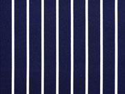 Baumwollsatin Streifen, weiß dunkelblau