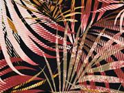Viskosejersey große Palmblätter, rotbraun schwarz