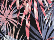 Viskosejersey große Palmblätter, graublau schwarz