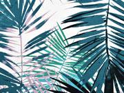 Viskosejersey große Palmblätter, petrol weiß
