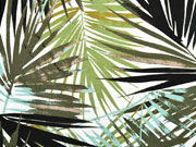 Viskosejersey große Palmblätter, khaki weiß