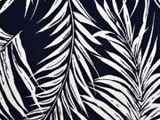 Viskosejersey Farnblätter, weiß dunkelblau