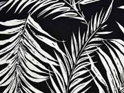 Viskosejersey Farnblätter, weiß schwarz