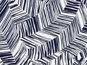 Viskosejersey grafisches Muster Striche, dunkelblau weiß