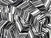 Viskosejersey grafisches Muster Striche, schwarz weiß