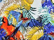 Viskosejersey Blätter Papagei, bunt hellmint