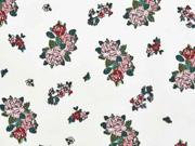 Baumwollstoff Blumensträuße Rosen, altrosa weiß