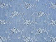 leichter Jeansstoff gestickte Lochblumen, jeansblau