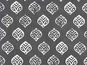 Baumwollstoff grafisches Muster Blätter, weiß dunkelgrau